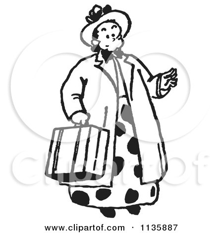 Cartoon Of A Retro Vintage Lady Carrying A Suitcase In Black And White - Royalty Free Vector Clipart by Picsburg
