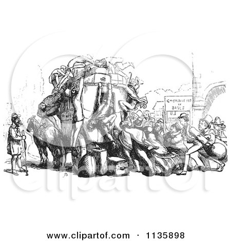 Clipart Of A Retro Vintage Crowd Attacking An Omnibus In Black And White - Royalty Free Vector Illustration by Picsburg