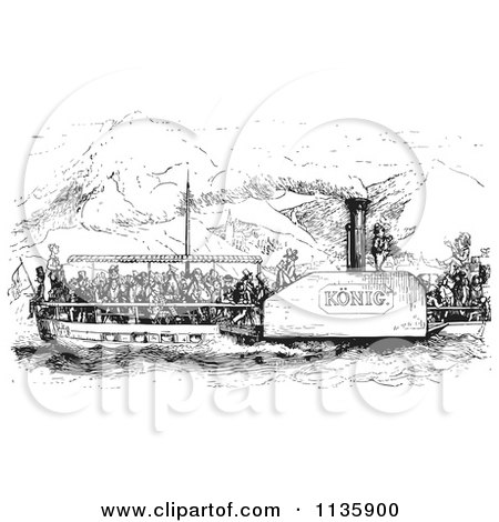 Clipart Of A Retro Vintage Crowded Rhine Boat In Black And White - Royalty Free Vector Illustration by Picsburg