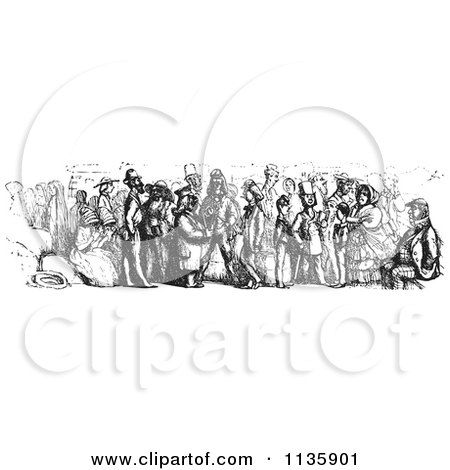 Clipart Of A Retro Vintage Crowd On A Rhine Boat In Black And White - Royalty Free Vector Illustration by Picsburg