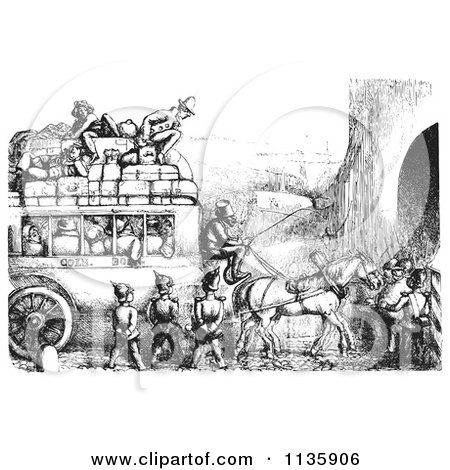 Clipart Of Retro Vintage Soldiers Stopping An Omnibus In Black And White - Royalty Free Vector Illustration by Picsburg