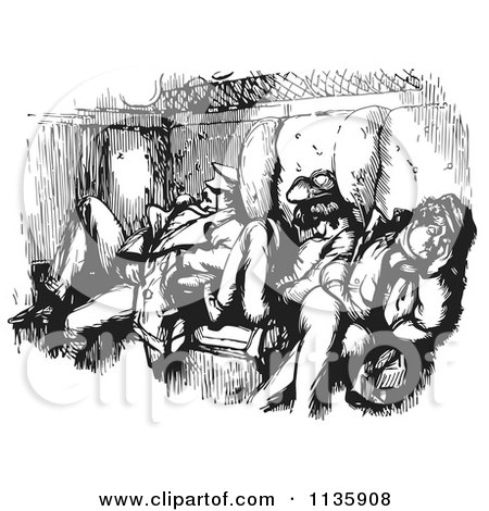 Clipart Of Retro Vintage Men Sleeping In A Train Car In Black And White - Royalty Free Vector Illustration by Picsburg