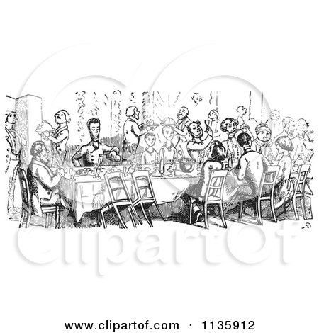Clipart Of A Retro Vintage Crowd Dining In Black And White - Royalty Free Vector Illustration by Picsburg