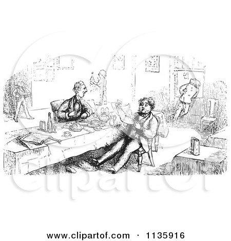Clipart Of Retro Vintage Men Eating And Reading In Black And White - Royalty Free Vector Illustration by Picsburg
