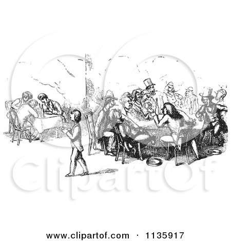 Clipart Of Retro Vintage Men Dining And Chatting In A Restaurant In Black And White - Royalty Free Vector Illustration by Picsburg