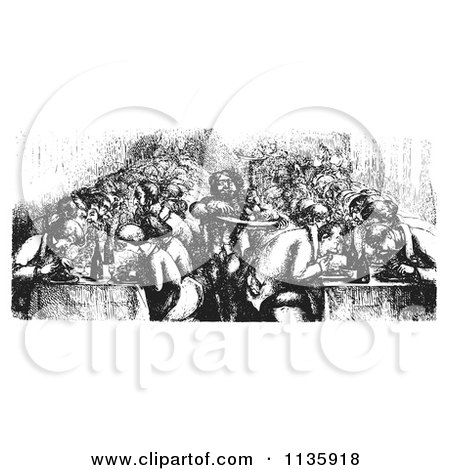Clipart Of A Retro Vintage Restaurant On The Rhine Boat In Black And White - Royalty Free Vector Illustration by Picsburg