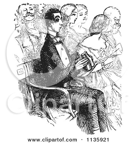 Clipart Of A Retro Vintage Man With Binoculars At The Opera In Black And White - Royalty Free Vector Illustration by Picsburg