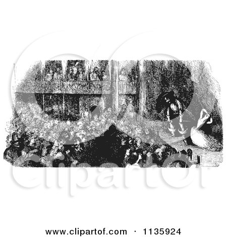 Clipart Of A Retro Vintage Crowd Watching A Pirate Play In Black And White - Royalty Free Vector Illustration by Picsburg