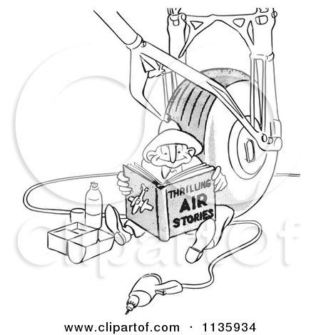 Clipart Of A Retro Vintage Airplane Assembly Worker Man Reading And Eating Lunch By A Wheel Black And White - Royalty Free Vector Illustration by Picsburg