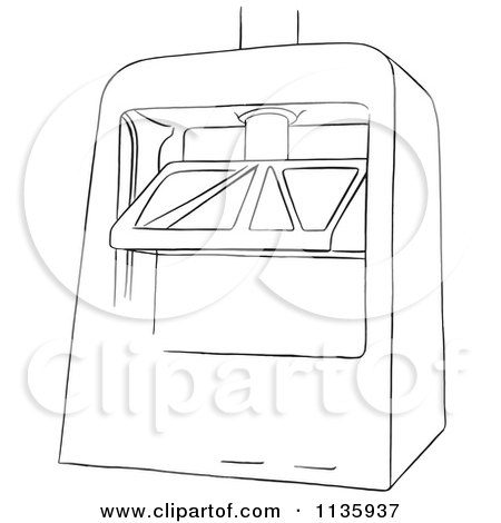 Clipart Of A Retro Vintage Machine Press Black And White Royalty Free Vector Illustration
