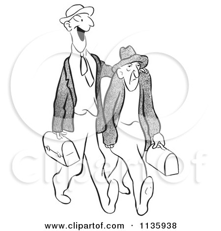 Clipart Of A Retro Vintage Worker Man Trying To Cheer Up A Grumpy Guy Black And White - Royalty Free Vector Illustration by Picsburg