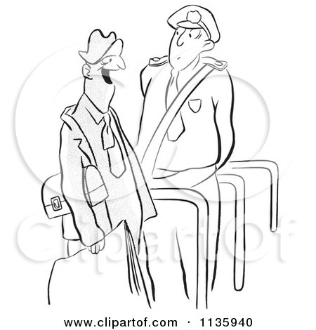 Clipart Of A Retro Vintage Security Guard And Man Black And White - Royalty Free Vector Illustration by Picsburg