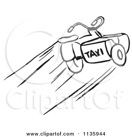 Clipart Of A Retro Vintage Black And White Taxi Motorcycle - Royalty Free Vector Illustration by Picsburg