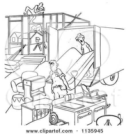 Clipart Of Retro Vintage Man Moving Into An Incomplete House Black And White - Royalty Free Vector Illustration by Picsburg