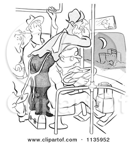 Retro Vintage Man Shaving On A Crowded Bus Black And White Posters, Art Prints