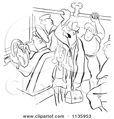 Clipart Of Retro Vintage People On A Crowded Bus Black And White - Royalty Free Vector Illustration by Picsburg