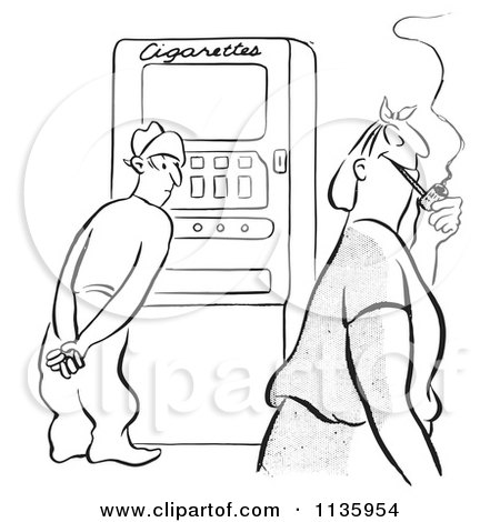 Clipart Of A Retro Vintage Man At A Cigarette Machine Watching A Woman With A Pipe Black And White - Royalty Free Vector Illustration by Picsburg