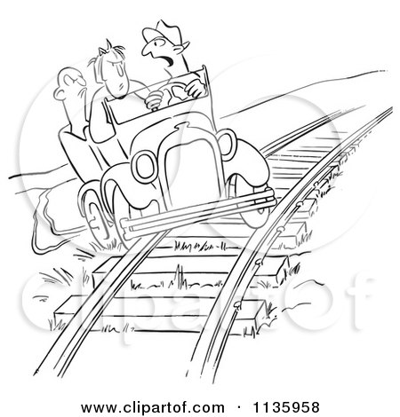 Clipart Of A Retro Vintage Late Driver Taking The Railroad Tracks Black And White - Royalty Free Vector Illustration by Picsburg