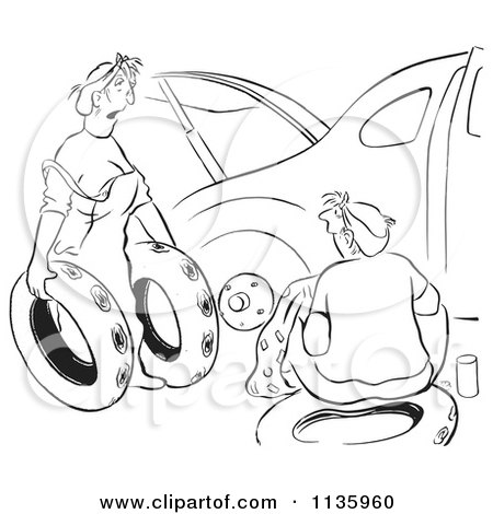 Clipart Of A Retro Vintage Woman Offering Ruined Spare Tires For Her Husband Car Black And White - Royalty Free Vector Illustration by Picsburg