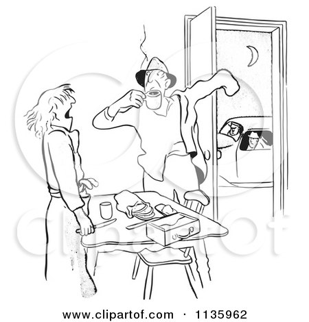 Clipart Of A Retro Vintage Woman Making Lunch For Her Husband Before Work Black And White - Royalty Free Vector Illustration by Picsburg