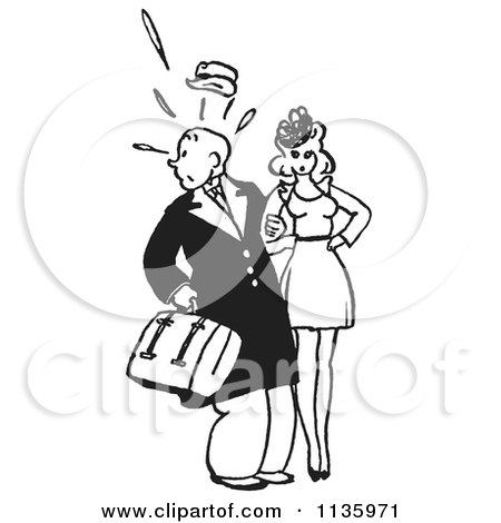 Cartoon Of A Retro Vintage Surprised Man Looking Back With A Woman In Black And White - Royalty Free Vector Clipart by Picsburg