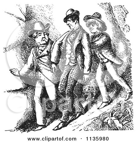 Clipart Of Retro Vintage Men Hiking In Black And White 2 - Royalty Free Vector Illustration by Picsburg