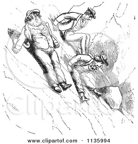 Clipart Of Retro Vintage Men Scooting Down A Mountain In Black And White - Royalty Free Vector Illustration by Picsburg