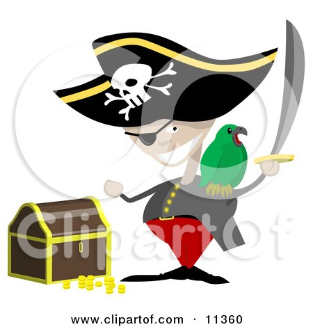 Pirate With a Sword, Parrot and Treasure Chest Clipart Illustration by AtStockIllustration