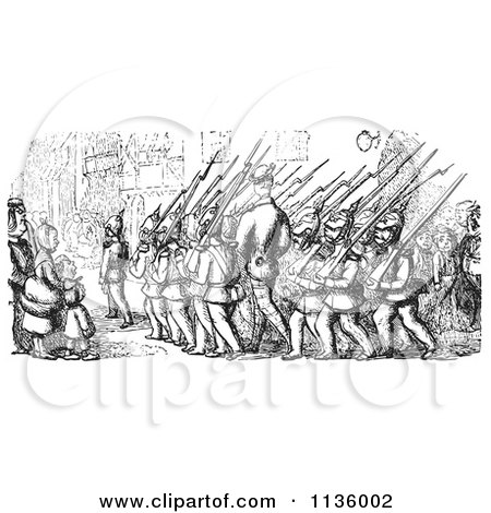Clipart Of Retro Vintage Marching Soldiers In Black And White - Royalty Free Vector Illustration by Picsburg