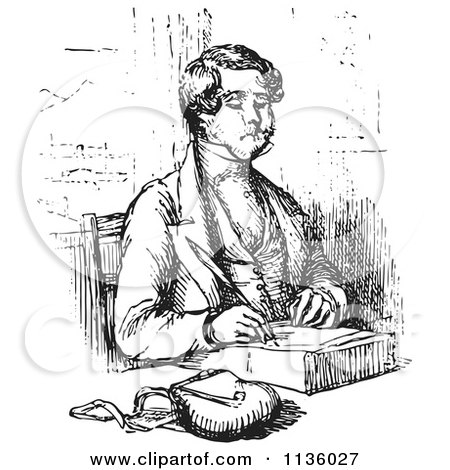 Cartoon Of Black And White Lady Writing A Thoughtful
