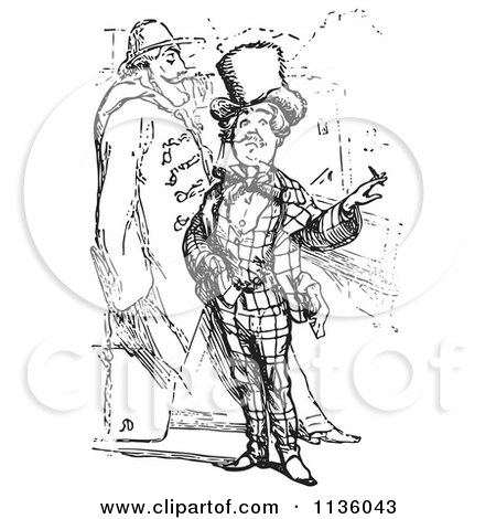 Clipart Of Retro Vintage Men Smoking In Black And White - Royalty Free Vector Illustration by Picsburg
