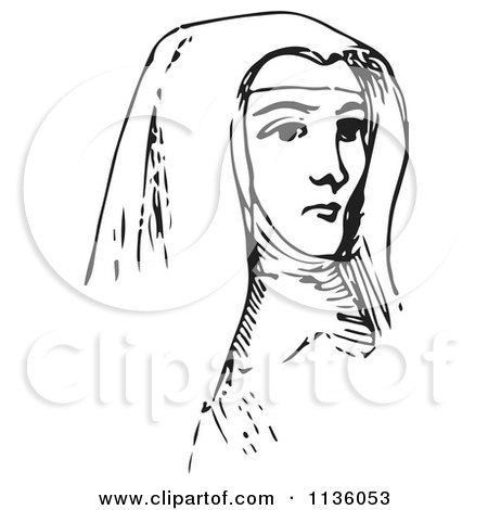 Clipart Of A Retro Vintage Nun In Black And White - Royalty Free Vector Illustration by Picsburg
