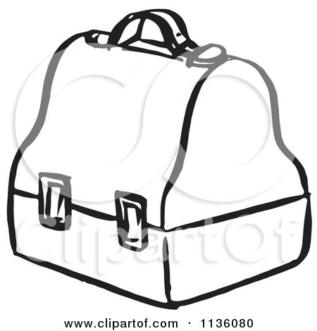 Clipart Of A Retro Vintage Black And White Lunch Box