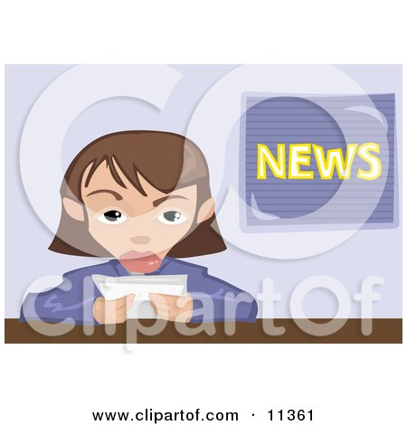 Female News Reporter Clipart Illustration by AtStockIllustration