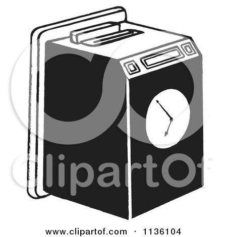 Clipart Of A Retro Vintage Work Punch Clock Black And White - Royalty Free Vector Illustration by Picsburg