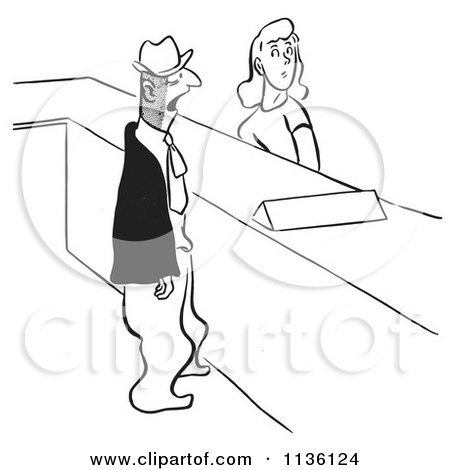 Clipart Of A Retro Vintage Man And Woman At A Help Desk Black And White - Royalty Free Vector Illustration by Picsburg