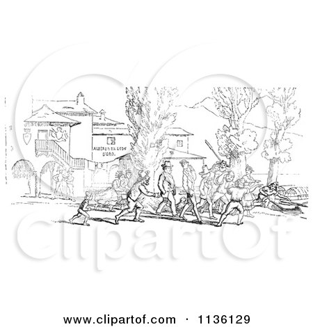 Clipart Of A Retro Vintage Crowd On Shore In Black And White - Royalty Free Vector Illustration by Picsburg
