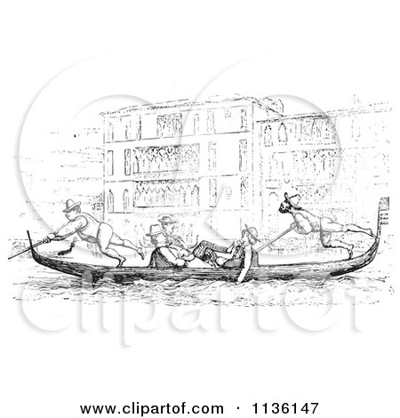 Clipart Of A Retro Vintage Gondola On The Grand Canal In Black And White - Royalty Free Vector Illustration by Picsburg