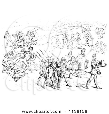 Clipart Of A Retro Vintage Argument Between Men And Soldiers In Black And White 2 - Royalty Free Vector Illustration by Picsburg