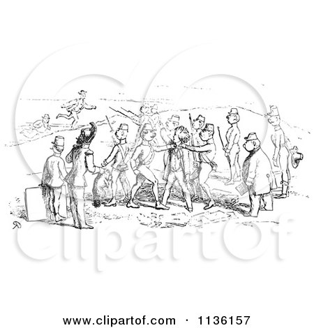 Clipart Of A Retro Vintage Argument Between Men And Soldiers In Black And White - Royalty Free Vector Illustration by Picsburg