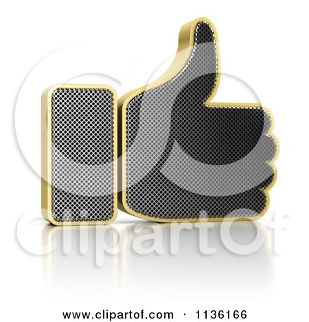 Clipart Of A 3d Perforated Metal Thumb Up Icon - Royalty Free CGI Illustration by stockillustrations