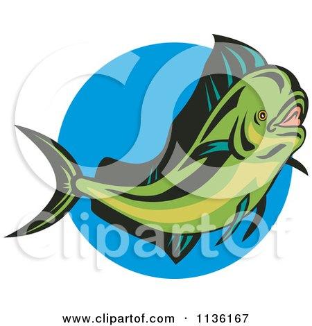 Clipart Of A Retro Mahi Mahi Dolphin Fish Over Blue - Royalty Free Vector Illustration by patrimonio
