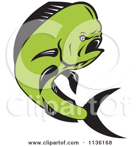 Clipart Of A Retro Mahi Mahi Dolphin Fish Jumping - Royalty Free Vector Illustration by patrimonio