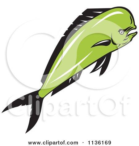 Clipart Of A Retro Mad Mahi Mahi Dolphin Fish - Royalty Free Vector Illustration by patrimonio