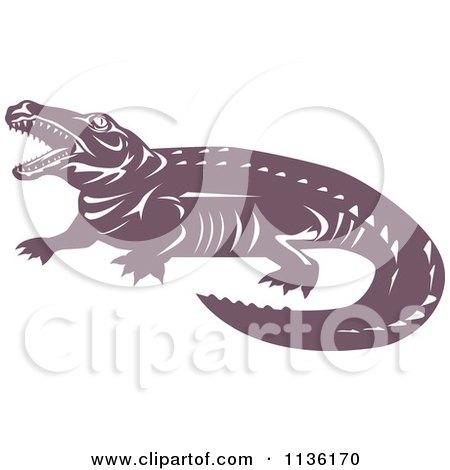 Clipart Of A Retro Crocodile 2 - Royalty Free Vector Illustration by patrimonio
