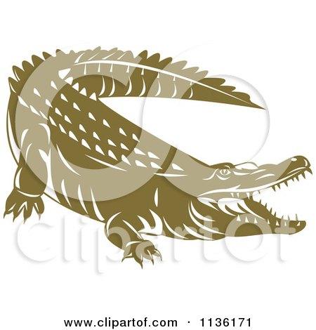 Clipart Of A Retro Crocodile 3 - Royalty Free Vector Illustration by patrimonio