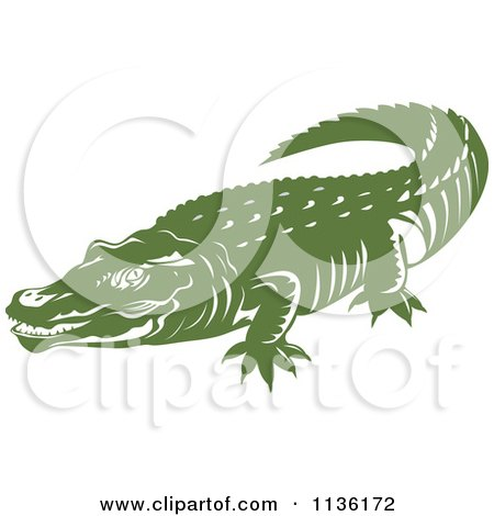 Clipart Of A Retro Crocodile 4 - Royalty Free Vector Illustration by patrimonio