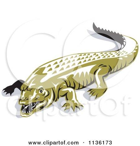 Clipart Of A Retro Crocodile 1 - Royalty Free Vector Illustration by patrimonio