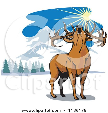 Clipart Of A Roaring Deer In The Mountains - Royalty Free Vector Illustration by patrimonio