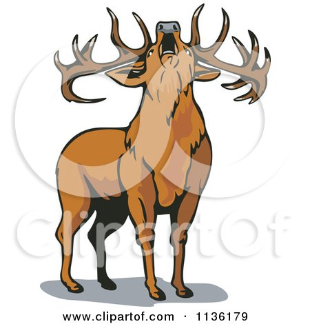 Clipart Of A Roaring Deer - Royalty Free Vector Illustration by patrimonio
